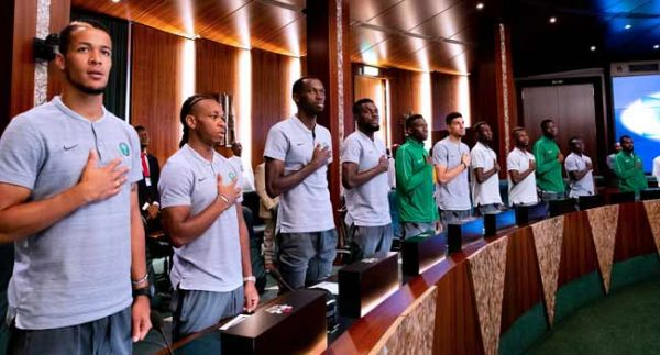 •Super Eagles at the Presidential Villa on Wednesday