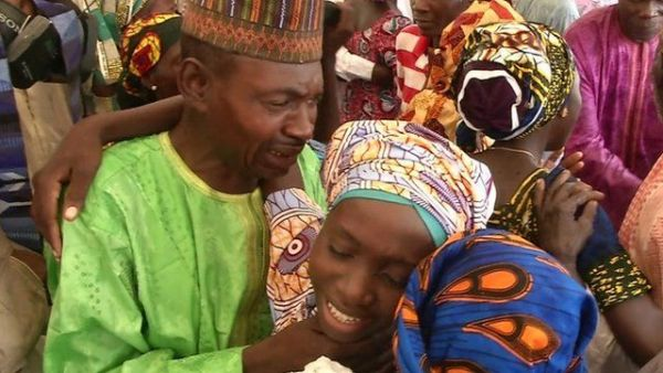 •Happy reunion by the freed Chibok girls and their parents.