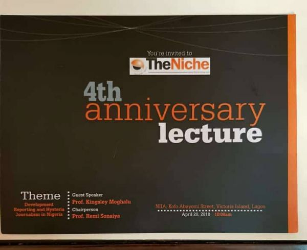 •TheNiche 4th Anniversary Lecturer, Prof Kingsley Moghalu