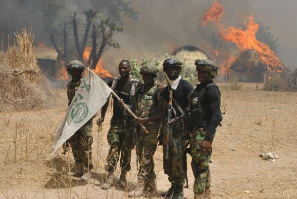•Nigerian troops backing a destroyed Boko Haram camp