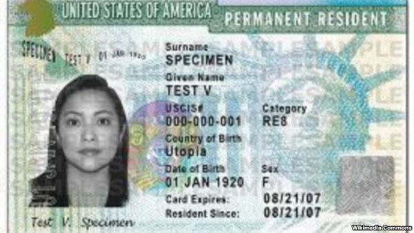 •U.S. Green card specimen