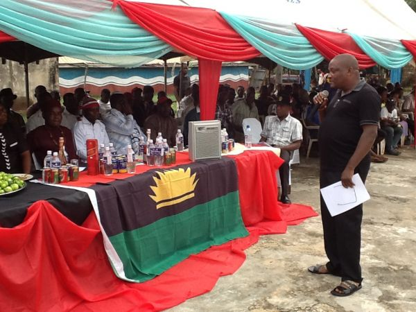 •Emeka Umeagbalasi delivering his lecture at the MASSOB 18th Anniversary Celebration . . . Wednesd