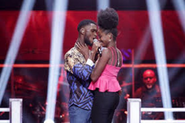 •The Voice Nigeria 2017 winner Idyll performing with a female act.