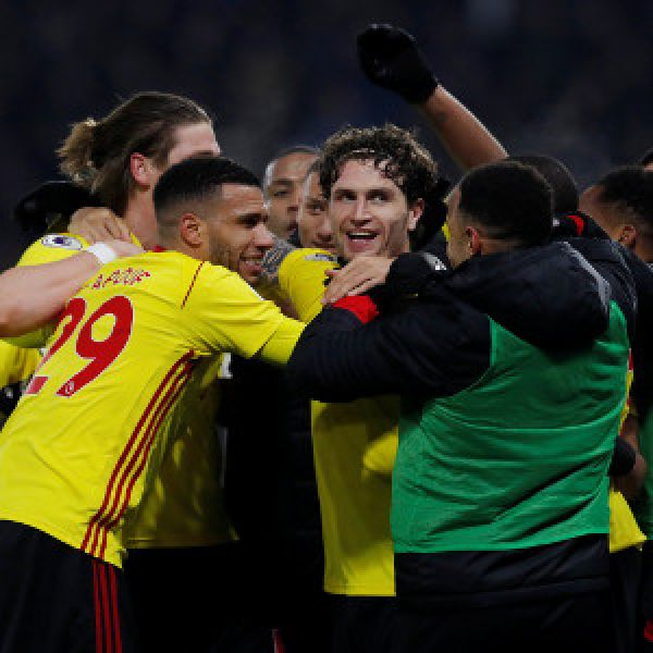 •Watford celebrating the humiliation of Chelsea . . . on Monday night