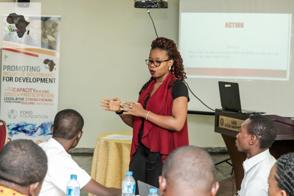 •Resource person speaking during the YIAGA workshop
