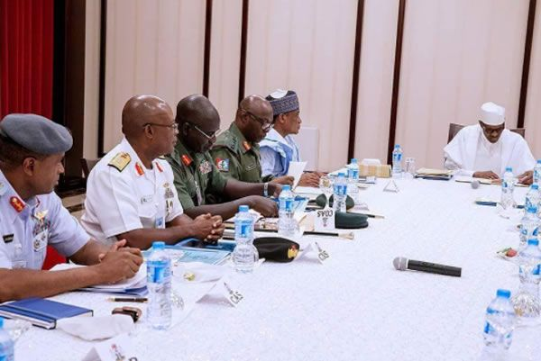 Image result for Buhari with security chiefs