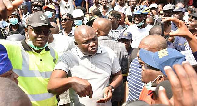 •Governor Ambode at the building collapse scene