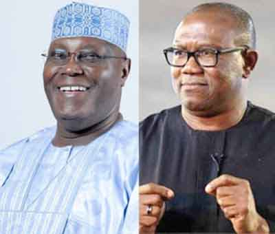 •PDP presidential candidate Atiku with running mate Peter obi