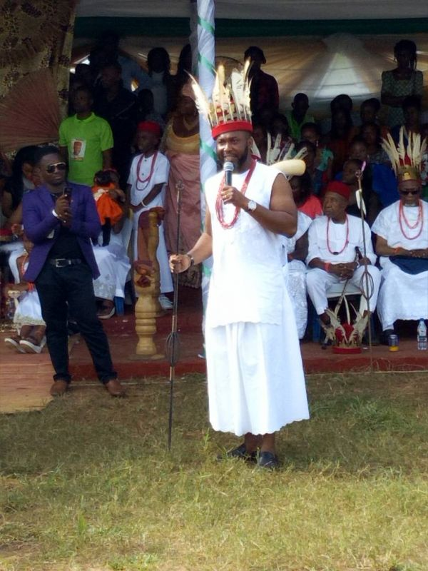 •Chidoka speaking on Saturday at the Obosi New Yam Festival.