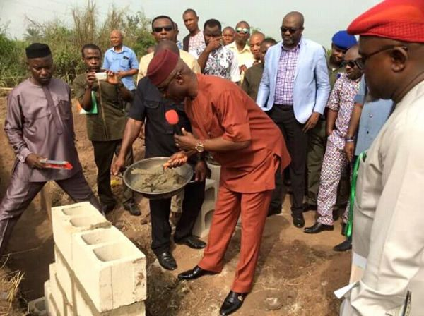 •Abia Deputy Governor, Rt Hon. Ude Oko Chukwu, laying the foundation stone of the Abia job centre