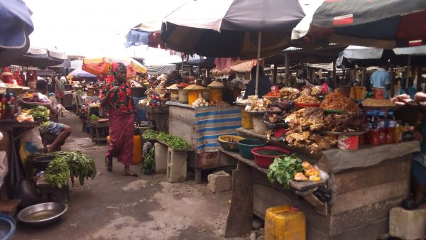 •Food items on display in a Lagos market
