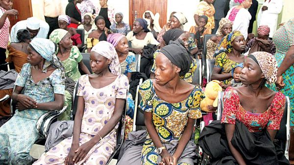 •The freed Chibok girls during a reception for them at the Presidential Villa, Abuja