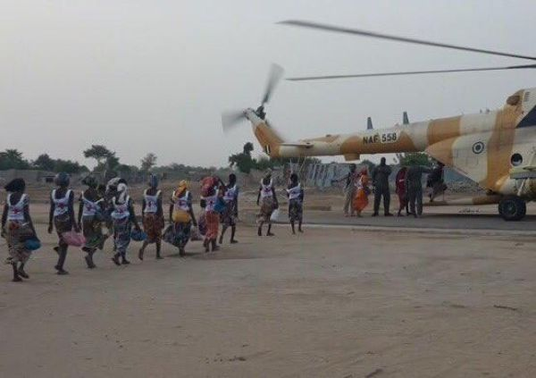 •The Chibok girls about to board a military helicopter over the weekend.
