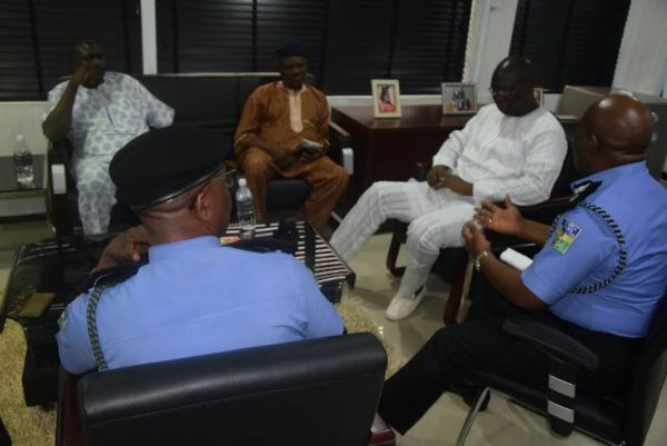•Lagos Police chiefs and OPC leaders at the closed-door meeting . . . on Thursday.