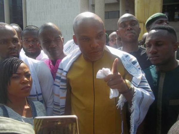 •Nnamdi Kanu addressing IPOB faithful in Umuahia on Wednesday.