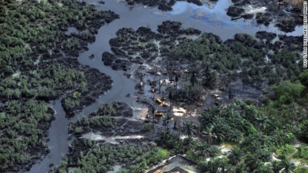 scene of an oil spill in the Niger Delta.