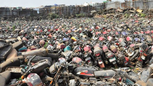 •Some of the impounded motorcycles.