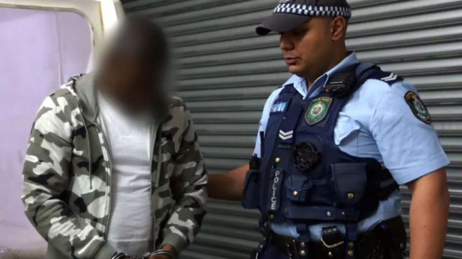 •The alleged ringleader, in a blurred image released by New South Wales Police
