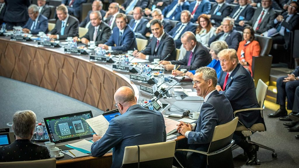 •Trump, 4th right with other NATO leaders in Brussels