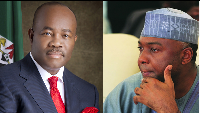 •Photo collage of Senate President Bukola Saraki and Senator Godswill Akpabio