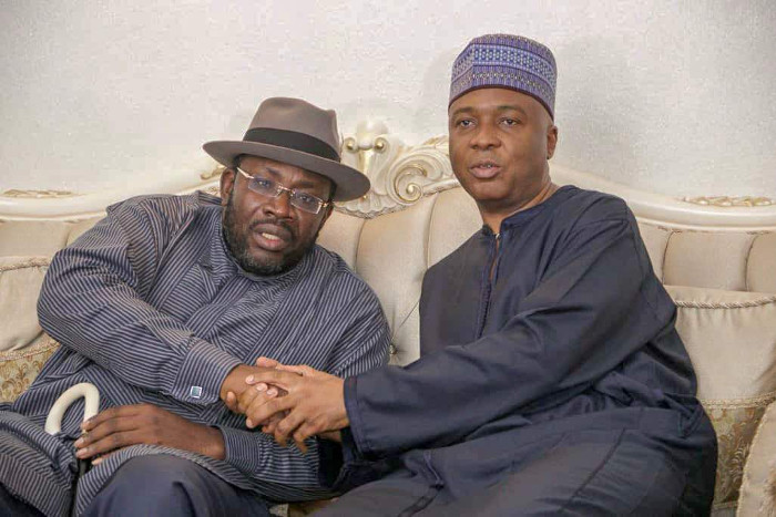 •Governor Seriake Dickson receiving President of the Senate Dr Bukola Saraki in Bayelsa