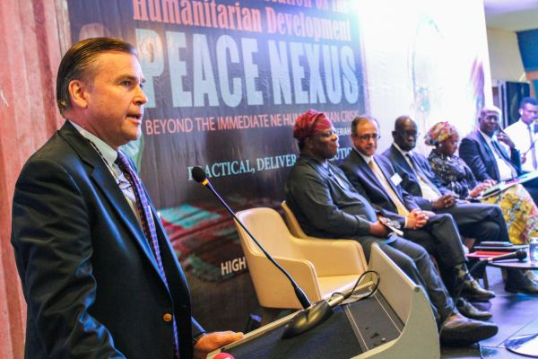 •Amb. Symington announcing the donation at the conversation in Abuja, Thursday